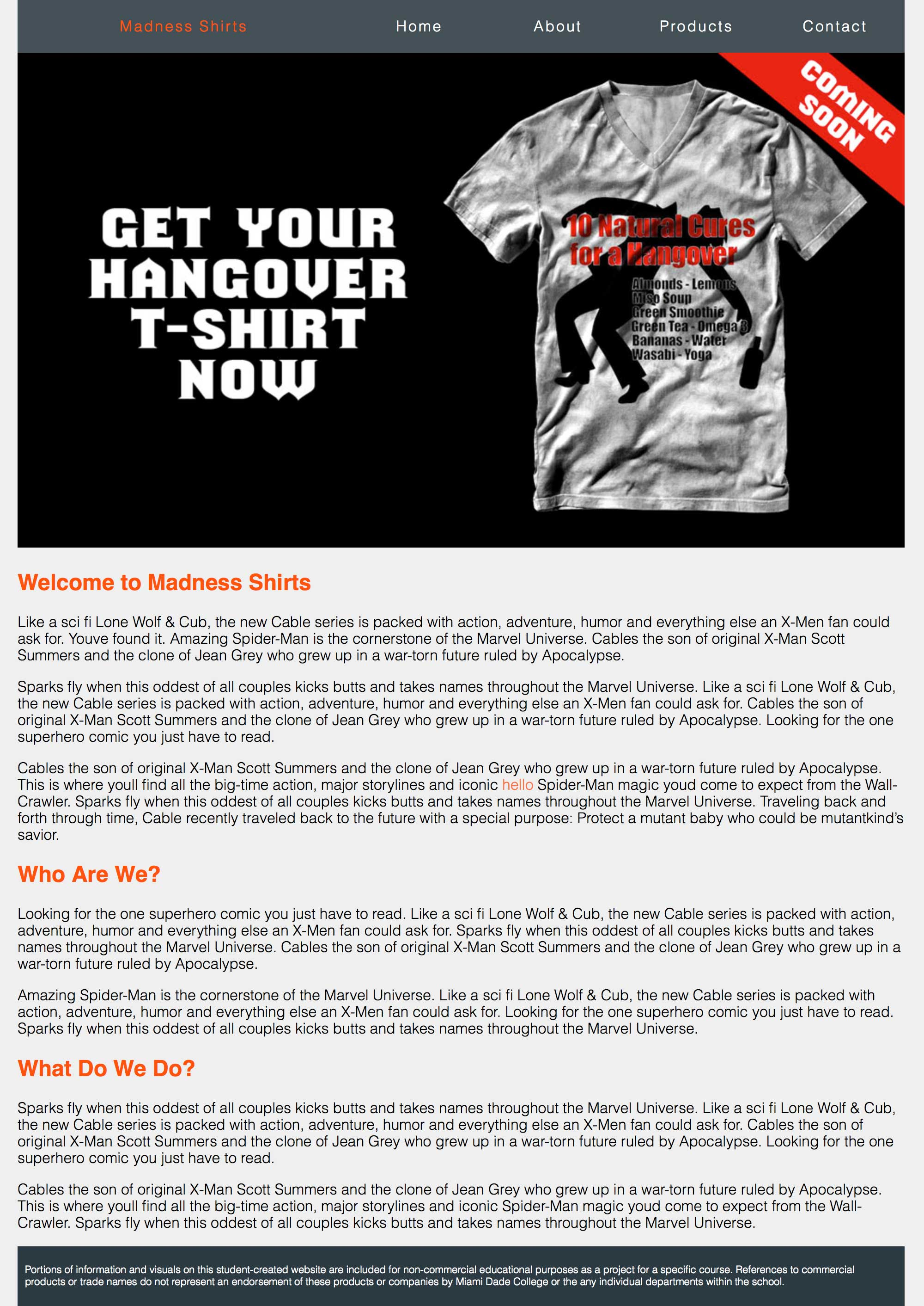 Madness Shirts homepage